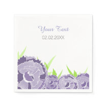 purple floral personalized wedding napkins