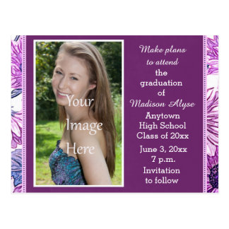 Purple Floral Photo Graduation Save the Date Card