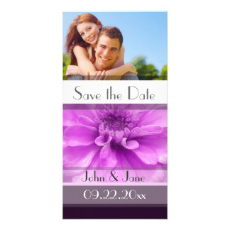 "Purple Floral  /photo  ""Save the Date"" Card"