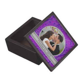 Purple Floral Photo Template Gift Trinket Box