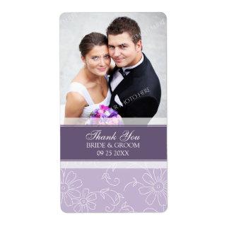 Purple Floral Photo Wedding Labels