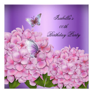 Purple Floral Pink Butterfly Birthday Party Invitations