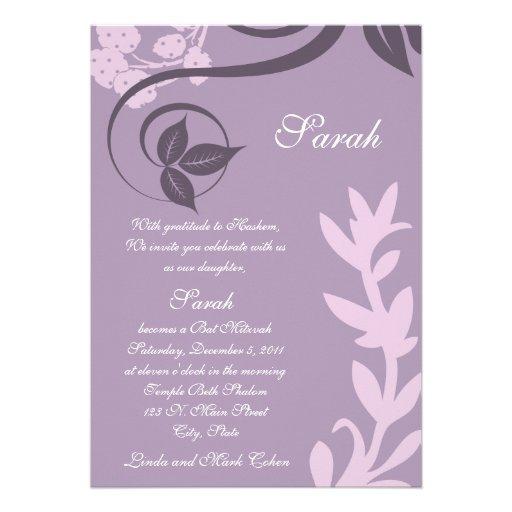 purple floral polka dot custom announcements