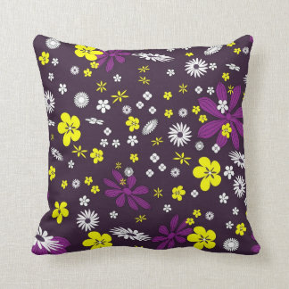 "🌸 Purple Floral Polyester Throw Pillow 16"" x 16"""