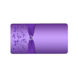 Purple Floral Print at Home Address Label