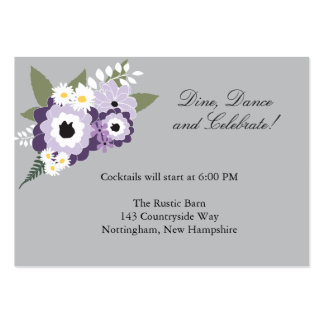 Purple Floral | Reception Card Large Business Cards (Pack Of 100)