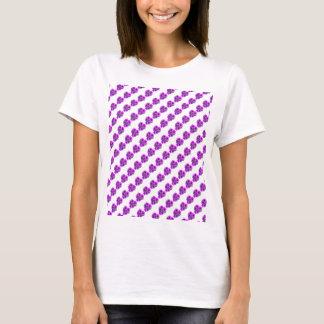 Purple Floral repeating pattern diagonal T-Shirt