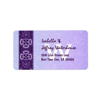 Purple Floral Ribbon with Monogram Wedding G206 Label