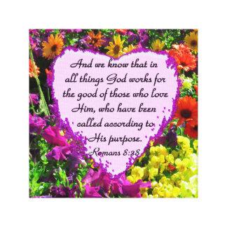 PURPLE FLORAL ROMANS 8:28 PHOTO DESIGN CANVAS PRINT