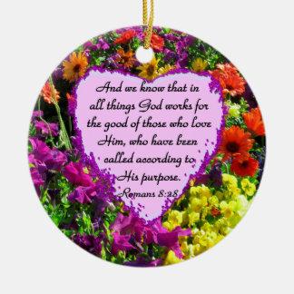 PURPLE FLORAL ROMANS 8:28 PHOTO DESIGN CERAMIC ORNAMENT