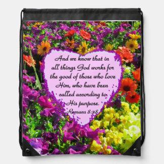 PURPLE FLORAL ROMANS 8:28 PHOTO DESIGN DRAWSTRING BAG