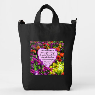 PURPLE FLORAL ROMANS 8:28 PHOTO DESIGN DUCK BAG