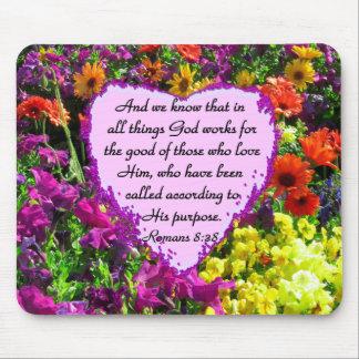 PURPLE FLORAL ROMANS 8:28 PHOTO DESIGN MOUSE PAD