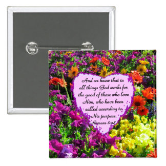 PURPLE FLORAL ROMANS 8:28 PHOTO DESIGN PINBACK BUTTON