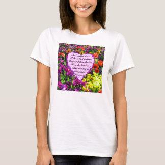 PURPLE FLORAL ROMANS 8:28 PHOTO DESIGN T-Shirt