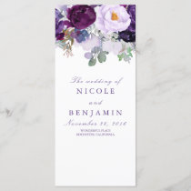 Purple Floral Romantic Wedding Programs