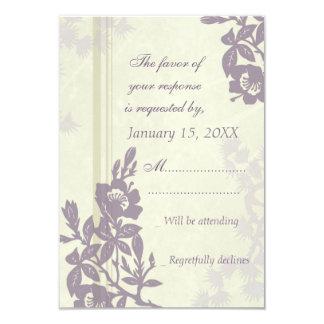 Purple Floral RSVP Wedding Card