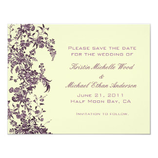 Purple Floral Save the Date Card