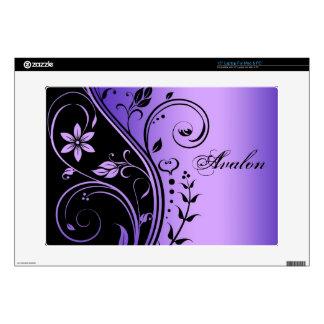 "Purple Floral Scroll 15"" Laptop Skin"
