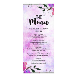 Purple Floral & Silver Frame Confetti Wedding Menu
