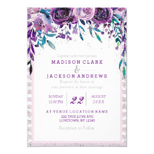 Purple and silver wedding invitations zazzle purple floral silver wedding invitations junglespirit Image collections