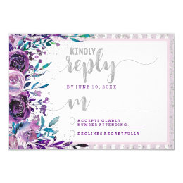Purple Floral & Silver Wedding Reply RSVP Card