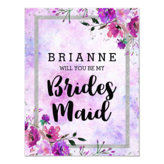 Purple Floral & Silver Will You Be My Bridesmaid Card