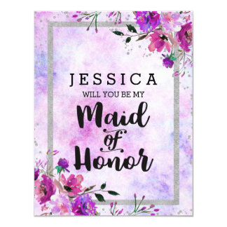 Purple Floral Silver Will You Be My Maid of Honor Invitation