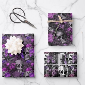 Purple Floral Skulls Wrapping Paper Sheets
