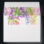 "Purple Floral  Succulent watercolor Envelope<br><div class=""desc"">Purple succulent watercolor design inside an envelope  part of  a range of wedding stationary at Just Fine Designs.</div>"