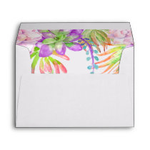 Purple Floral  Succulent watercolor Envelope