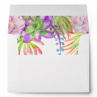 Purple Floral  Succulent watercolor Envelope