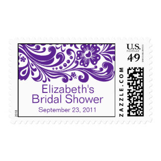 Purple Floral Swirls Damask Bridal Shower Stamp