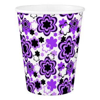 Purple Floral Teen Girl Picnic Party Paper Cup