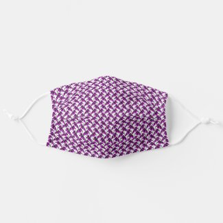 Purple floral tendril pattern cloth face mask