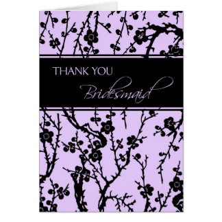 Purple Floral Thank You Bridesmaid Card