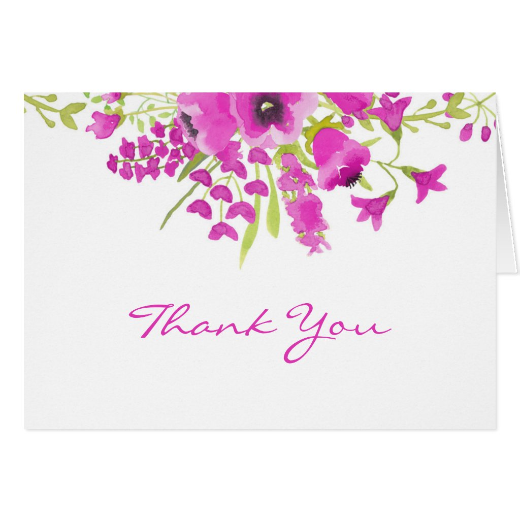 Purple Floral Thank You Card Watercolor