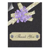 purple floral thank you postcard