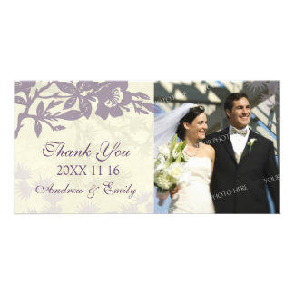 Purple Floral Thank You Wedding Photo Cards
