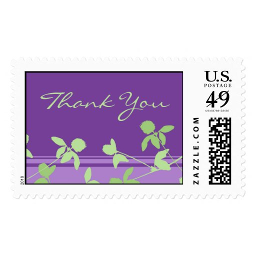 Purple Floral Thank You Wedding Stamps