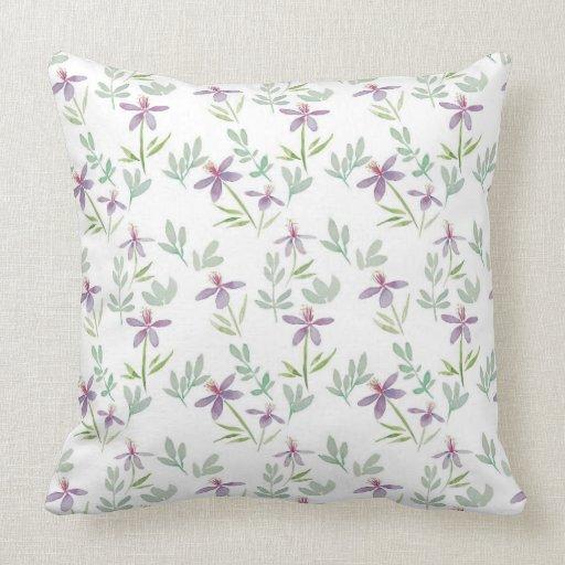 Purple floral throw pillow Zazzle