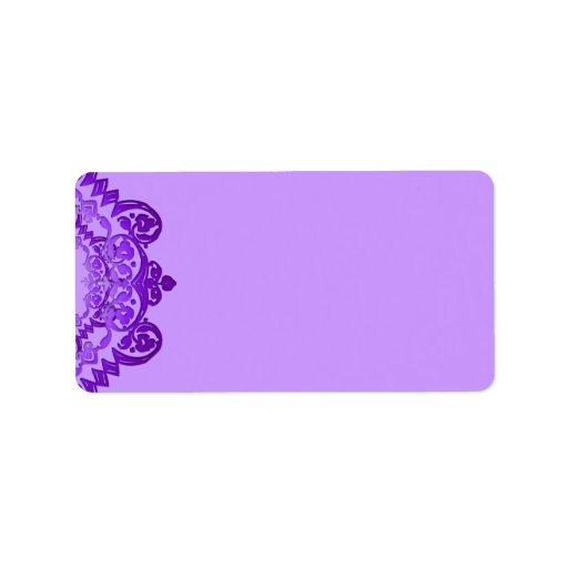 Purple Floral Vintage Art Blank Address Labels