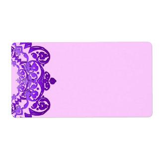 Purple Floral Vintage Art Blank Large Labels