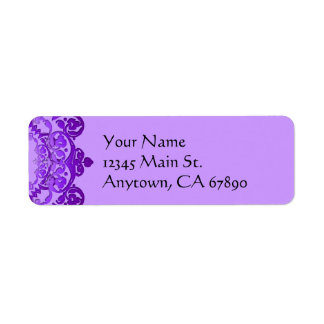 Purple Floral Vintage Art Return Address Labels