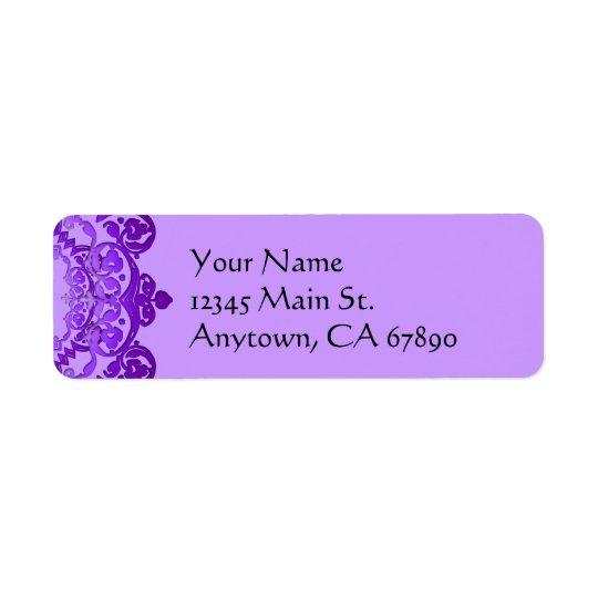 Purple Floral Vintage Art Return Address Labels