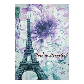 purple floral Vintage Paris Eiffel Tower Card