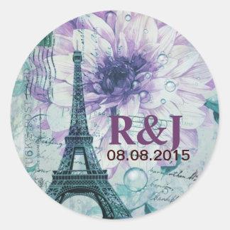 purple floral Vintage Paris Eiffel Tower Classic Round Sticker