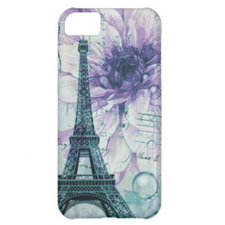 purple floral Vintage Paris Eiffel Tower Cover For iPhone 5C