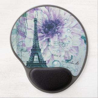 purple floral Vintage Paris Eiffel Tower Gel Mouse Pad