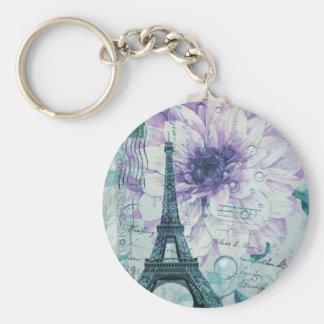 purple floral Vintage Paris Eiffel Tower Keychain
